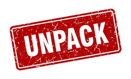 unpack stamp. unpack vintage red label. Sign