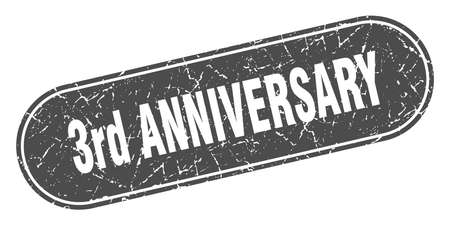 3rd anniversary sign. 3rd anniversary grunge black stamp. Label