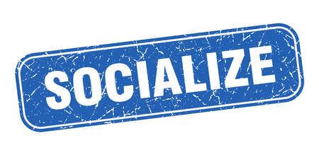socialize stamp. socialize square grungy blue sign