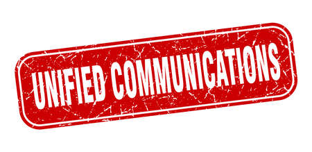 unified communications stamp. unified communications square grungy red sign