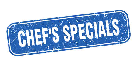 chef's specials stamp. chef's specials square grungy blue sign
