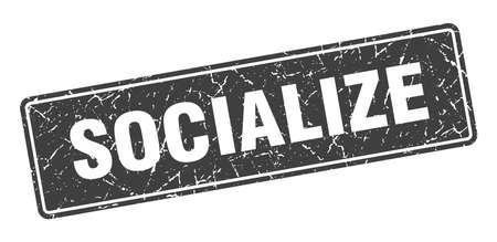 socialize stamp. socialize vintage black label. Sign