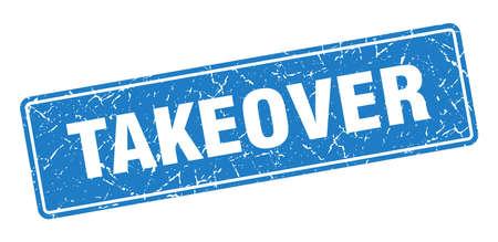 takeover stamp. takeover vintage blue label. Sign