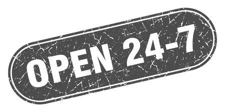 open 24 7 sign. open 24 7 grunge black stamp. Label