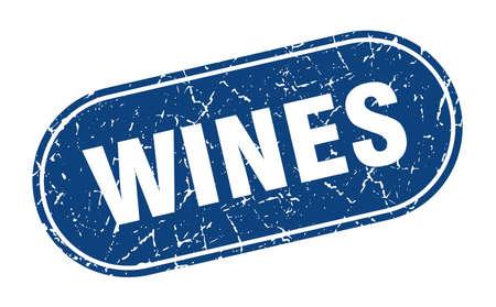 wines sign. wines grunge blue stamp. Label Illustration