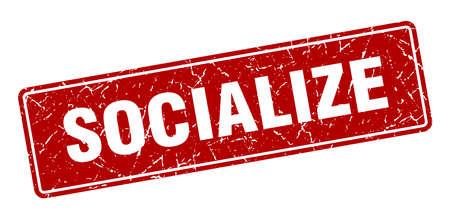 socialize stamp. socialize vintage red label. Sign
