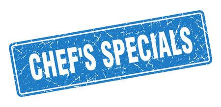 chef's specials stamp. chef's specials vintage blue label. Sign