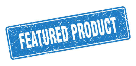 featured product stamp. featured product vintage blue label. Sign