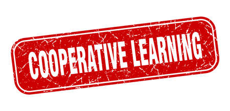cooperative learning stamp. cooperative learning square grungy red sign