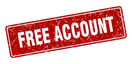 free account stamp. free account vintage red label. Sign