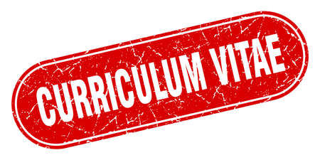 curriculum vitae sign. curriculum vitae grunge red stamp. Label
