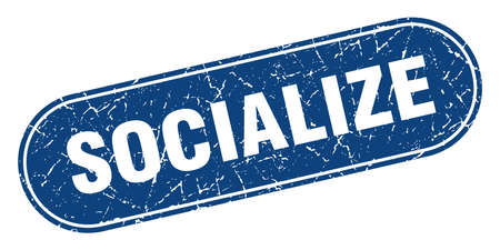 socialize sign. socialize grunge blue stamp. Label