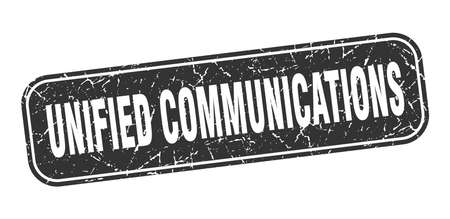 unified communications stamp. unified communications square grungy black sign