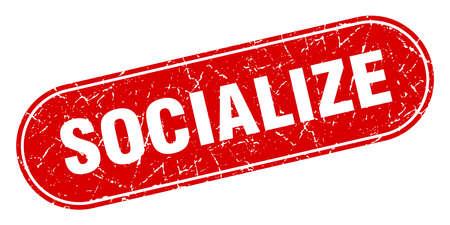 socialize sign. socialize grunge red stamp. Label Vettoriali