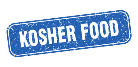 kosher food stamp. kosher food square grungy blue sign