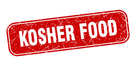 kosher food stamp. kosher food square grungy red sign