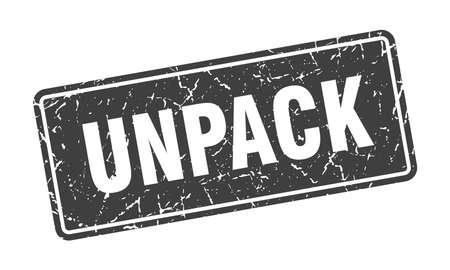 unpack stamp. unpack vintage black label. Sign
