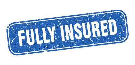 fully insured stamp. fully insured square grungy blue sign Illustration