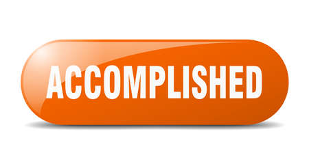 accomplished button. accomplished sign. key. push button. Ilustração