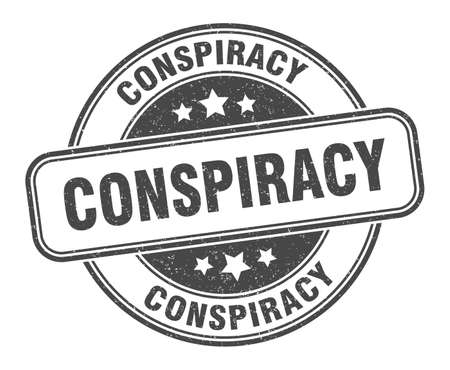 conspiracy stamp. conspiracy round grunge sign. label