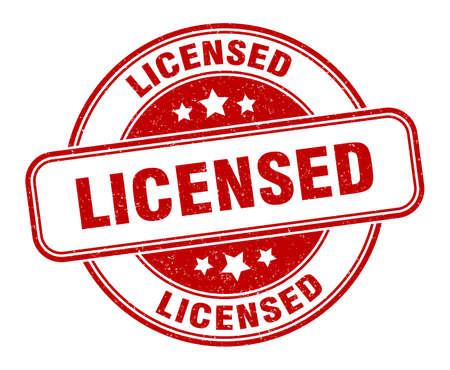 licensed stamp. licensed round grunge sign. label