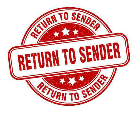 return to sender stamp. return to sender round grunge sign. label