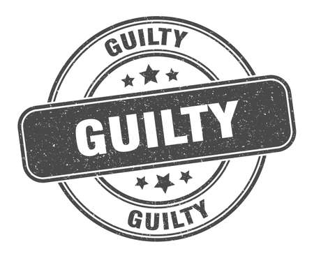 guilty stamp. guilty label. round grunge sign