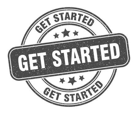 get started stamp. get started label. round grunge sign Stock Illustratie