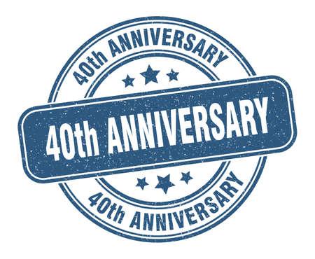 40th anniversary stamp. 40th anniversary label. round grunge sign