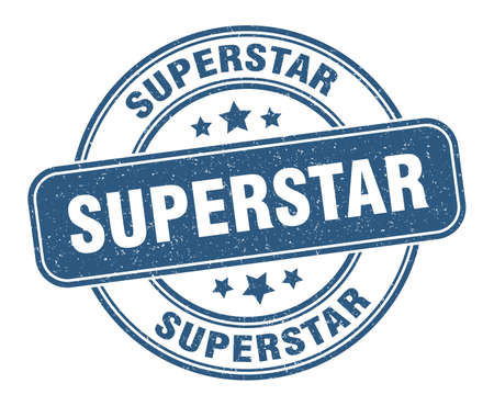 superstar stamp. superstar label. round grunge sign
