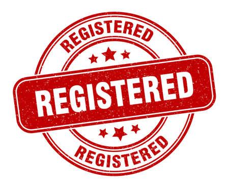 registered stamp. registered label. round grunge sign 向量圖像