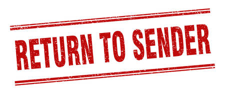 return to sender stamp. return to sender label. square grunge sign