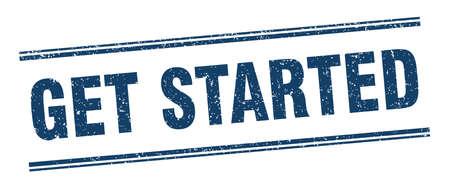 get started stamp. get started label. square grunge sign