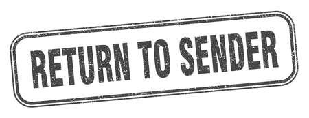 return to sender stamp. return to sender square grunge sign. label