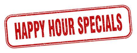 happy hour specials stamp. happy hour specials square grunge sign. label