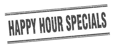 happy hour specials stamp. happy hour specials label. square grunge sign