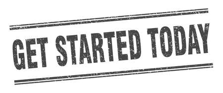 get started today stamp. get started today label. square grunge sign