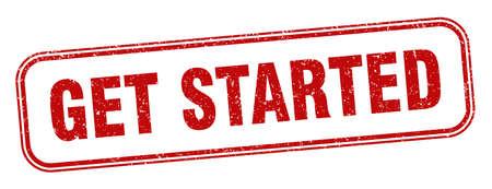 get started stamp. get started square grunge sign. label Vector Illustratie