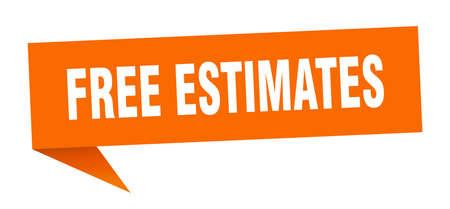free estimates banner. free estimates speech bubble. free estimates sign Vettoriali