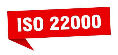iso 22000 banner. iso 22000 speech bubble. iso 22000 sign Illustration