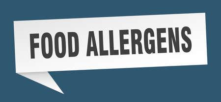 food allergens banner. food allergens speech bubble. food allergens sign