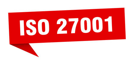iso 27001 banner. iso 27001 speech bubble. iso 27001 sign Illustration