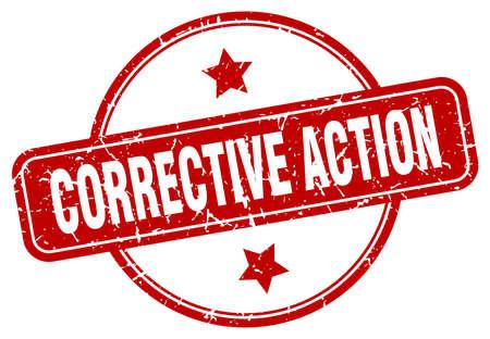 corrective action grunge stamp. corrective action round vintage stamp