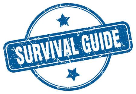 survival guide grunge stamp. survival guide round vintage stamp