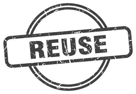 reuse grunge stamp. reuse round vintage stamp 向量圖像