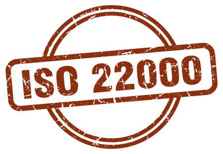 iso 22000 grunge stamp. iso 22000 round vintage stamp