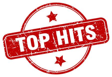 top hits grunge stamp. top hits round vintage stamp