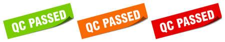 qc passed sticker. qc passed square isolated sign. qc passed label Vector Illustratie