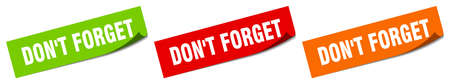don't forget sticker. don't forget square isolated sign. don't forget label