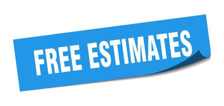 free estimates sticker. free estimates square isolated sign. free estimates label